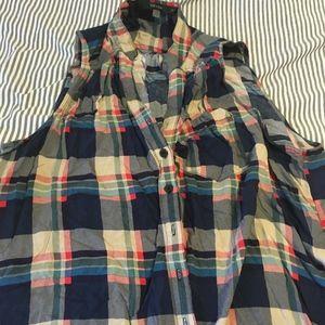 Modcloth button up sleeveless plaid shirt